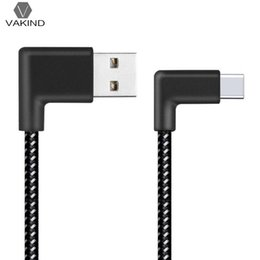Charging Connector Types Australia - 0.2 1 2m L Shaped Connector USB Type-c Charging Cable 90 Degree Angle Nylon Braided Type C Data Sync Transfer Cord Wire Line