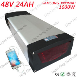 ebike lights 2019 - 1000W 48V Rear Rack Electric bike Battery 48V 24AH Ebike battery Use for samsung Cell with Tail light 30A BMS Free custo