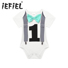 Jumpsuit Year Baby Australia - Iefiel Toddler Newborn Baby Boys 1st Birthday Romper Summer Clothes Infant Jumpsuits For One 1 Year Old Party Gentleman Romper J190524