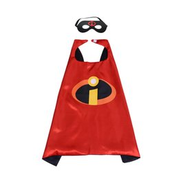 China Incredibles Superhero Cosplay cape with mask 27 inch double layer movie cartoon Superhero costumes for kids 3-10 years masquerade party cheap double costumes suppliers