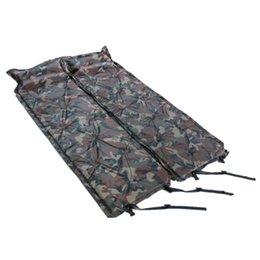 Chinese  Outdoor Camouflage Inflatable Cushion With Pillow Double Fold Camping Damp Proof Sleeping Mat Single Green Portable Inflat Bed 36tzD1 manufacturers