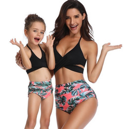 $enCountryForm.capitalKeyWord Australia - Mother And Daughter Scroop Neck Swimwear Family Matching Kids Swimsuit Girls Cross Knotted Thong Bikinis Baby Women Bathing Suit