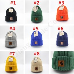 Car bonnets online shopping - Solid Design INS Women Beanie Hat Knitted Wool Cap Car Men Sports Winter Hats Crochet Striped Bonnet Hart Hiphop Roll up Skull Caps C111907