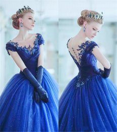 $enCountryForm.capitalKeyWord Australia - Royal Blue Princess Ball Gown Prom Dresses Cap Sleeves Lace Applique Beads Sheer Scoop Masquerade Dress Formal Evening Gowns Full Length