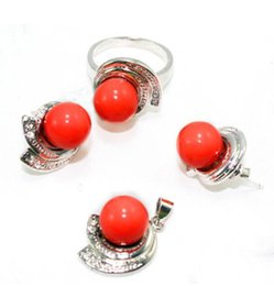 $enCountryForm.capitalKeyWord Australia - Women's Wedding wholesale nice christmas gift red gem stone stud earring pendant & ring(#7.8.9) jewelry set silver-jewelry