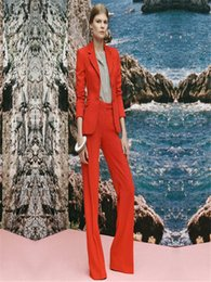 $enCountryForm.capitalKeyWord Australia - New Womens Pant Suits Red Business Female Office Uniform Ladies Formal Trouser Suits Bell-bottomed Pants Womens Tuxedos Custom.1