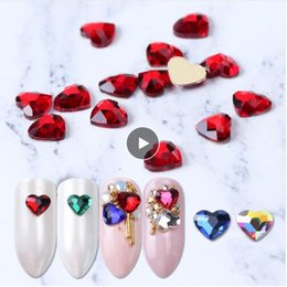 heart crystals NZ - 10pcs Flatback Colorful Heart Nail Rhinestones For Nails Art Decorations Crystal Glass Stone Manicure 3D Shiny Strass Gem