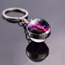 stone keyrings wholesale NZ - Glow In The Dark Solar System Planet Keyring Galaxy Nebula Luminous Keychain Moon Earth Sun Double Side Glass Ball Key Chain
