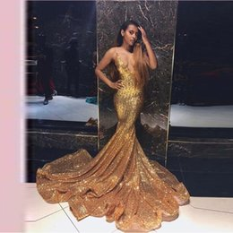 Gold Sequined Mermaid Australia - Sparkle Gold Sequined Prom Dresses 2019 Sexy Deep V-neck Backless Long Mermaid Party Gowns Elastic Plus Size Vestido Formatura