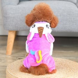 Dog Jacket Wear Australia - Easter Rainbow Unicorn Hooded Cap Doggy Clothes Red Trend Add Villus Pets Apparel Flannel Dog Sweater Autumn And Winter Wear Poodle 23cxb1