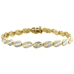 "Diamond Rounds UK - 10K Yellow Gold Baguette & Round Diamond 5.25mm Oval Frame 7"" Link Bracelet 1 CT"