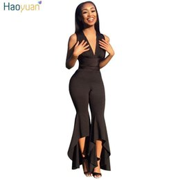 bea65fb401 HAOYUAN Wide Leg Bodycon Jumpsuit Deep-V Summer Full Bodysuit Sexy Club  Body Overalls Party Black White Rompers Womens Jumpsuit  400989