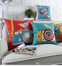 bedroom camera NZ - Pop Style Camera Birds Cushion Covers Watercolor Painting Thick Linen Cotton Pillow Cover 45X45cm 30X50cm Bedroom Sofa Decoration