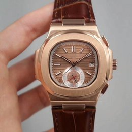 Luxury Watches Transparent Australia - Luxury Mens Watch Automatic Mechanical Leather Strap Rose Gold Case Brown Dial Transparent Back Men Watches