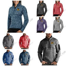 Full Zip Sweater Jacket Australia - Chicago Blackhawks Antigua Mens Womens Fortune Half-Zip Sweater Pullover Jackets- Heather Navy Charcoal Purple Grey Royal
