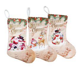 Pattern Cloth Australia - Christmas Stockings 30*15cm Gift Bag Cloth Ornaments Small Boots Pendant Santa Snowman Deer Pattern Print Party Home Decoration Supplies