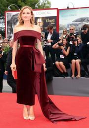 Celebrity Occasions Dresses NZ - Burgundy Velvet Red Carpet Celebrity Dresses 2019 Off Shoulder Tea-length Mermaid Arabic Qatar Occasion Prom Dress with Ribbon