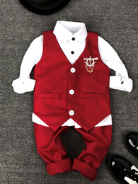 red baby vest NZ - Baby Boy Red Suit Wedding Clothes Shirt+Vest+Pants Kids Costume Stage Performance Host Show Boy Party Red Suits