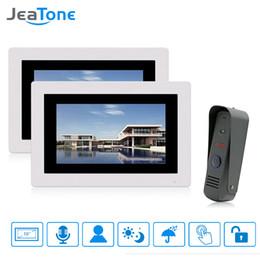 $enCountryForm.capitalKeyWord Australia - JeaTone 7 Wired Video Doorbell Intercom Touch Screen Monitors Rainproof Door Phone Home Security System 1 Camera with 2 Monitors