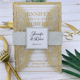$enCountryForm.capitalKeyWord Australia - Luxury Pearl Gold Laser Cut Wedding Invitation With Glitter Silver Belly band, Customized Insert And Tag