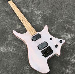 white guitar black hardware 2019 - Headless Electric Guitar with Transparent White veneer Koa top, Gloss finish, Black Hardware, Real Photo showing,free sh