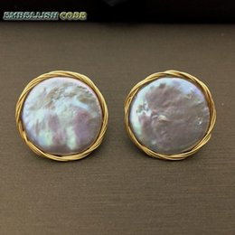 Flat Gold Studs NZ - 2018 New Design Hand Made Winding Gray Colorful Baroque Pearl Golden Color Flat Round Coin Gold Real Pearls Stud Earrings Y19052401
