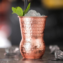 $enCountryForm.capitalKeyWord Australia - Stainless Steel Cocktail Glass Moscow Mule Mug Copper Hammer Point Bar Wine Glasses party decor cups vintage India's cup Wine Glasses 5021