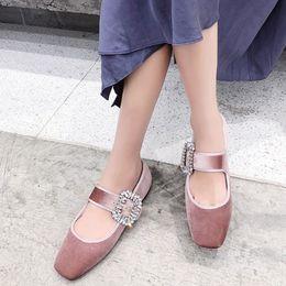 $enCountryForm.capitalKeyWord NZ - Dilalula 2019 Luxury Women Mary Jane Flat Velvet Crystal Buckle Genuine Leather Pigskin Inside Square Toe Casual Shoes
