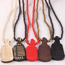 Laser Engraved Pendants Australia - Microphone Laser Engraved MIC Wooden Bead Necklace Solid Wood Pendant Hip Hop Necklace