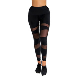 Summer Yoga Pants NZ - Summer Women Black Mesh Stitching Sports Yoga Pants High Waist Workout Gym Fitness Exercise Athletic Trousers For Female Fashion