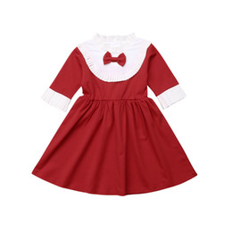 vintage baby girl clothes wholesale NZ - 2019 Vintage Retro Toddler Kids Baby Girl Clothes Ruffles Long Sleeve Bowknot Formal Dress Wedding Party Princess Dresses 1-6T