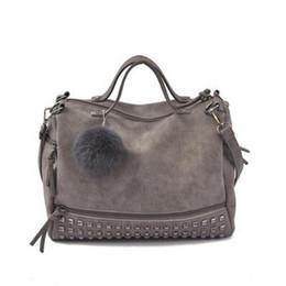 $enCountryForm.capitalKeyWord Australia - Bolish Vintage Nubuck Leather Female Top-handle Bags Rivet Larger Women Bags Hair Ball Shoulder Bag Motorcycle Messenger Bag