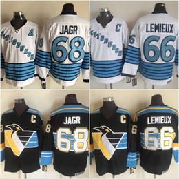 b7dbe2bce92 Hombres Vintage 68 Jaromir Jagr 66 Mario Lemieux Jerseys Negro de calidad  superior de hockey sobre hielo Jerseys 100% cosido envío gratis