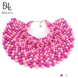 jewelry fashion bead necklaces NZ - wholesale Fashion Choker Necklace for Women Big Imitation Pearl Beads Statement Necklace Collar Female Maxi Necklaces Jewelry