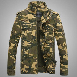 Discount army casual uniform Mens Jacket Tactical Camouflage Casual Fashion Bomber Jackets Trend Outdoor Uniforms Commando Long Sleeve Printing