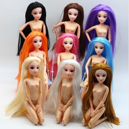 Diy For Hair Australia - Free Ship 30cm Nude Doll with 3D Eyes Straight Hair Head Accessories Suitable by Yourself DIY Change Toy For Girls Doll Toys Gift