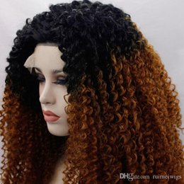 Discount blonde afro wigs - Synthetic Lace Front Wig Heat Resistant Ombre Two Tone Black To Brown Blonde Curly 1B 30# Afro Kinky Curly for Woman Cos