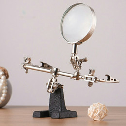 $enCountryForm.capitalKeyWord NZ - 60mm 5X Third Hand Soldering Iron Stand Helping Clamp Vise Clip Tool Magnifying Glass wholesale Electronic Appliance Repair