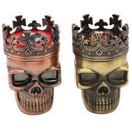 tobacco cutter Australia - Classic Skull Tobacco Grinder King Skull Shaped Herb Smoke Grinder 3 Parts Smoke Cutter Smoking Pipe Accessories