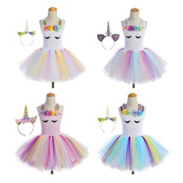 Green line products online shopping - Hot product unicorn party girl tutu skirt dance summer costume for kids toy kids dress and headdress together