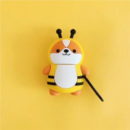 box case keyring NZ - Mytoto Cute 3D bee dinosaur Shiba Inu Case for Airpods 1 2 Bluetooth Headset Silicon Earphone Cover Accessories with keyring coque box