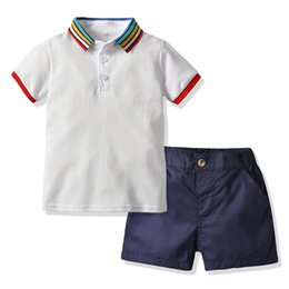 led t shirt wholesalers Canada - FZ1034X8 New children's Polo Rainbow led tops shirt T-shirt short - sleeved shorts suit boy summer clothes kids shorts wholesale