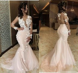 Blush pink sequin evening dresses online shopping - 2020 Modest Blush Pink Prom Dresses Mermaid D Floral Applique Sweep Train Plunging V Neck Long Illusion Sleeves Formal Evening Gowns