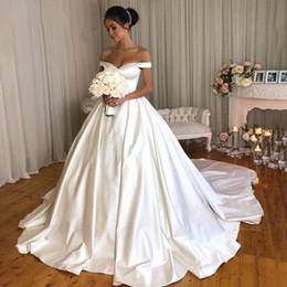 $enCountryForm.capitalKeyWord NZ - vestido de noiva Elegant White Ball Gown Wedding Dresses Long Off Shoulder Sweetheart Satin Bride Dress Robe De Mariee