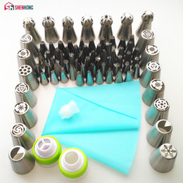 cupcake piping set NZ - Shenhong 77pcs Icing Piping Tips Set 1 Pcs Silicone Bag 3 Coupler Russian Tulip Nozzles Cupcake Cake Decorating Diy Dessert Q190430