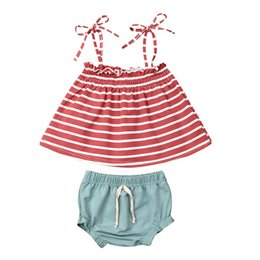Wholesale Infant Newborn Baby Girls Summer Clothes Baby Girls Clothing Fashion Sleeveless Straps Stripe Tops Shorts Clothes Set Ropa