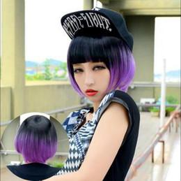 $enCountryForm.capitalKeyWord Australia - WIG Fashion Short Bob Hair Black+Purple Full Wigs Sexy Lolita Costume Cosplay Wig