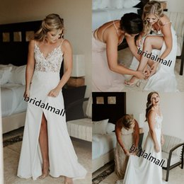 Spaghetti Side Slit lace online shopping - Bohemian Lace and Chiffon Wedding Dresses Sexy Side Slit A Line Boho Beach Bride Dress Spaghetti Straps Country Wedding Gowns Robe de mariée