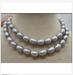 "China Genuine AAA10-12mm natural south sea gray pearl necklace 35"" 14k yellow golden c cheap gold c necklace suppliers"