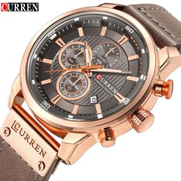Top Fashion Luxury Watches Australia - Mens Watches Top Brand Luxury Fashion Casual Waterproof Chronograph Date Genuine Leather Sport Military Male Clock Curren 8291 Y19052201